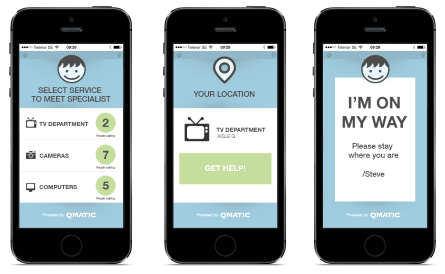 Smartphones display service apps on screens to help customers get the right help in the store.
